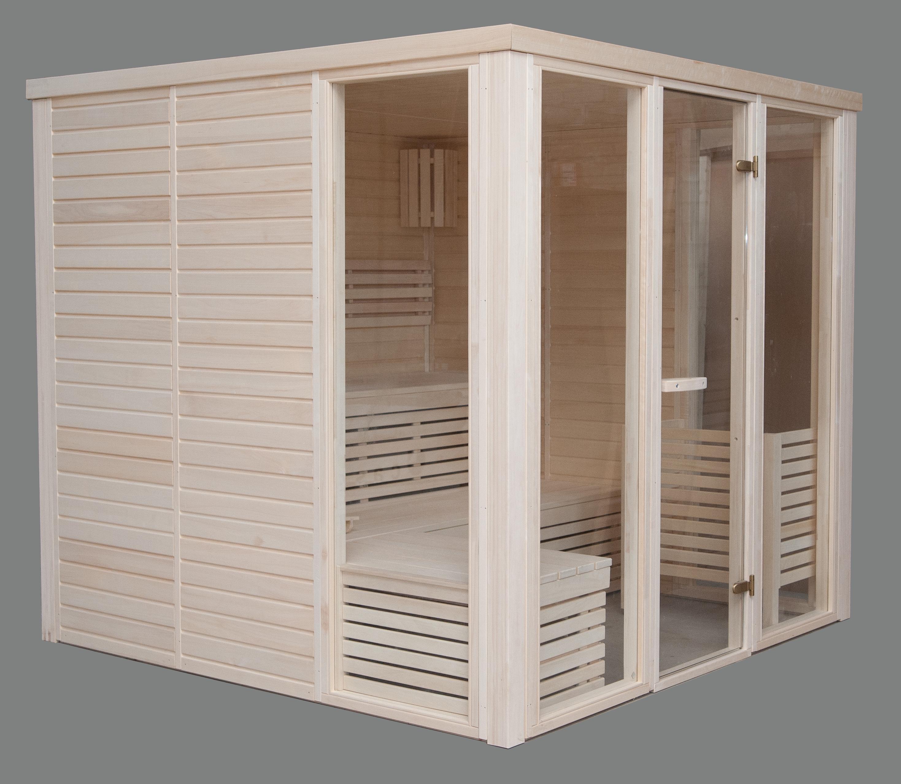 Sauna Prefabbricata Legno Prezioso Latifoglie Aspe  2.20 X 2.20 Prezzo 2692 €*